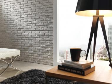 Steinwand Brick Rustico weiss