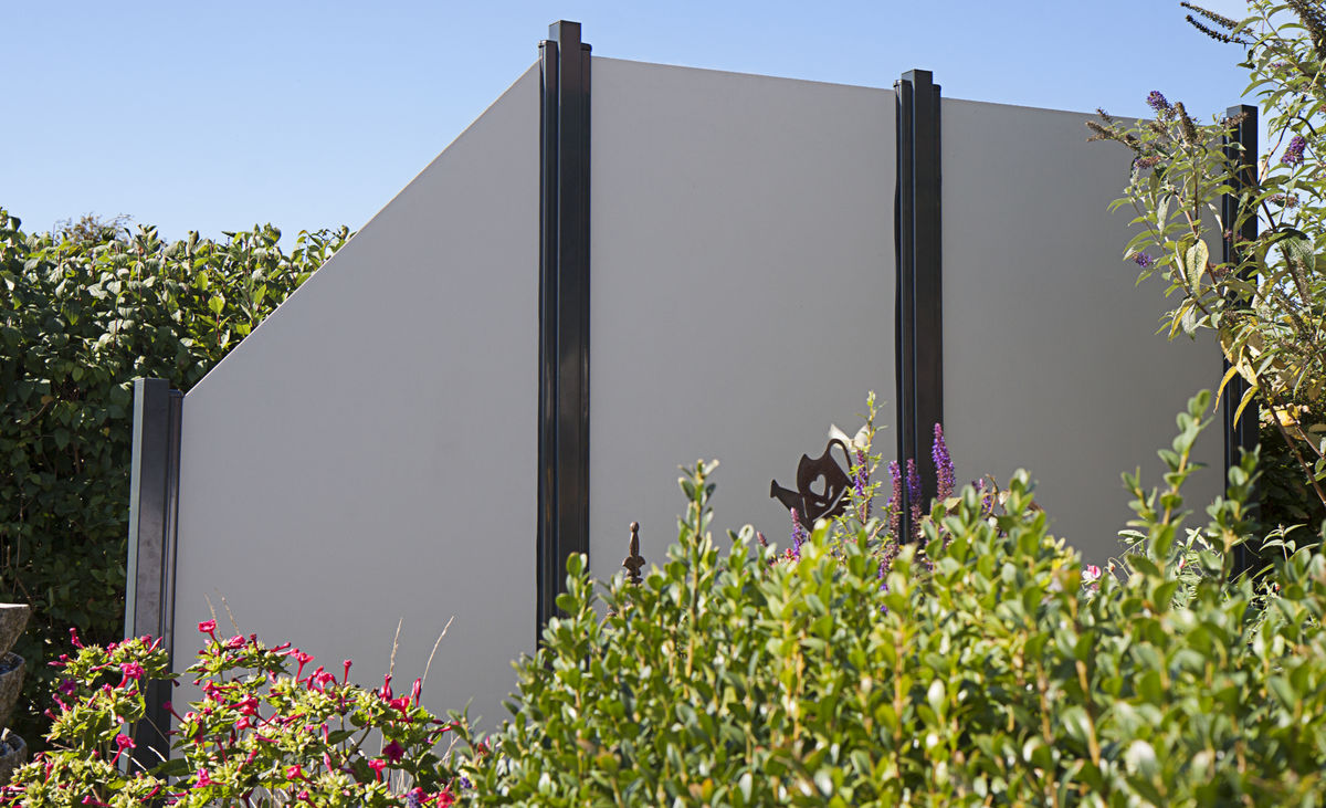 HPL Sichtschutz uni grau 90 x 180 x 0,8cm senkrecht