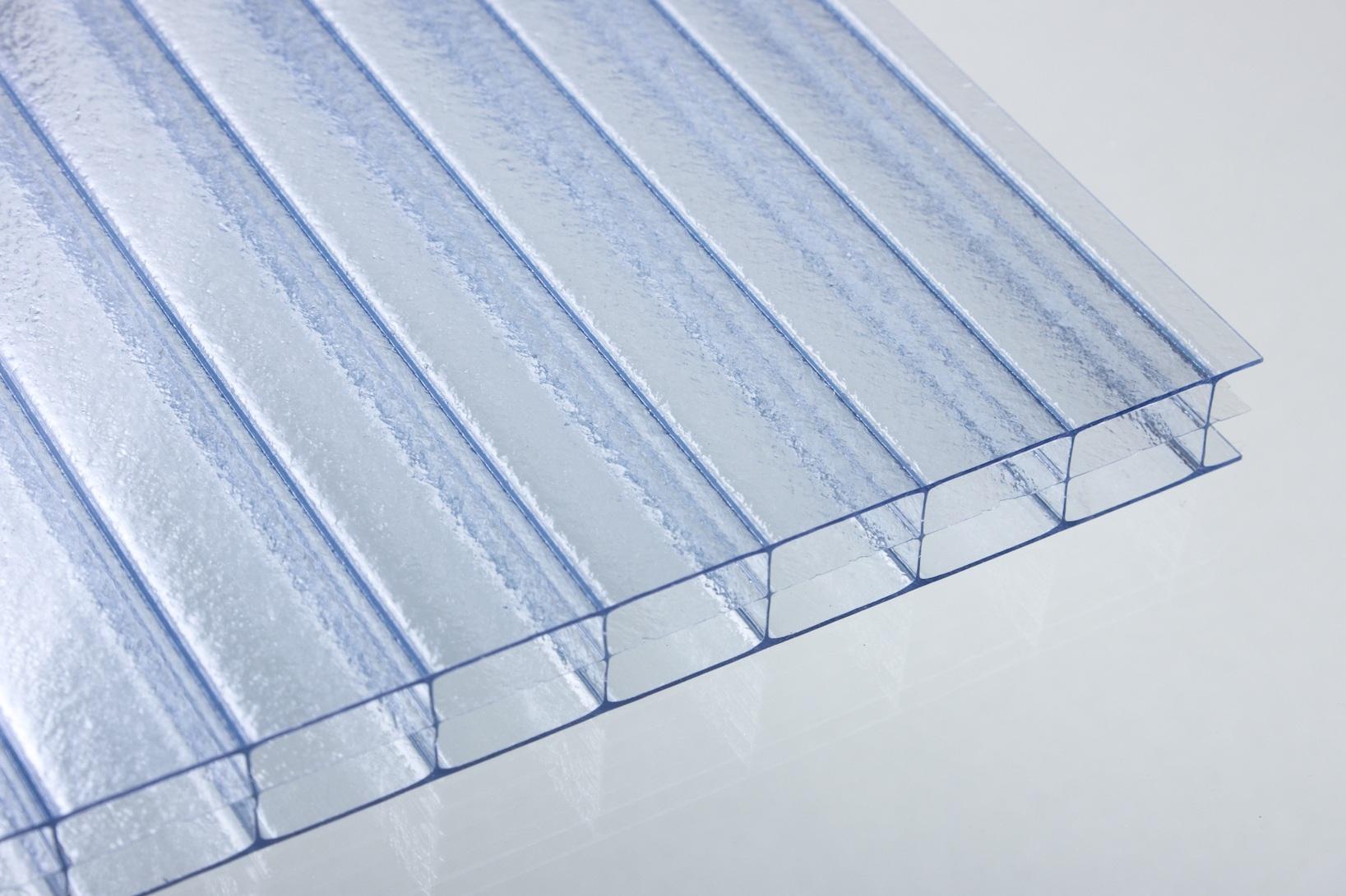 Stegdreifachplatte Crystal-Blu UV-Red. 16mm